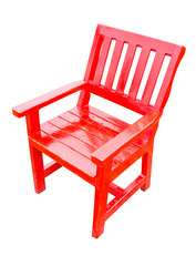 Red wooden chair isolated on white.