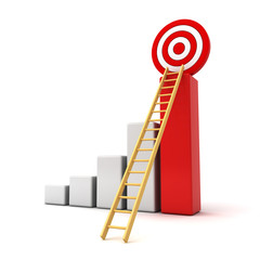 Business concept  3d business graph with ladder to the target