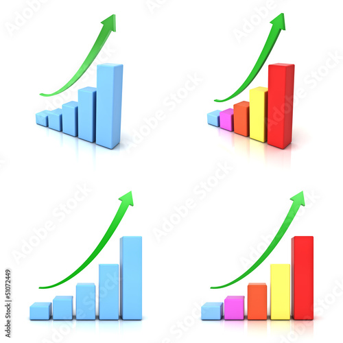 Business graphs with green rising arrow isolated over white