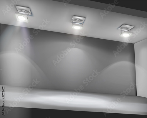 Illuminated shelf in shop. Vector illustration.