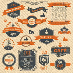 Vintage Coffee Stamps and Label Design Backgrounds