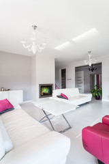 Vibrant cottage - living room with fireplace