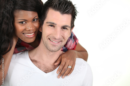cheerful couple on white background