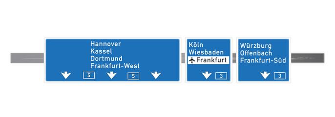 Autobahntafel in Frankfurt A5