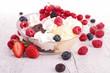 ice cream and berries fruits