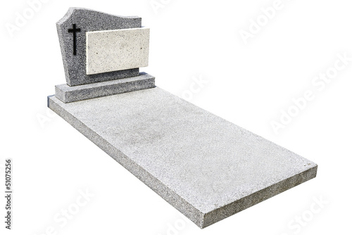 single grave stone cut out (Clipping path) - 51075256