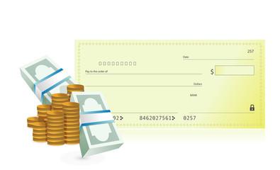 checkbook and business profits illustration