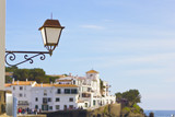 View of the town of Cadaques with lamp