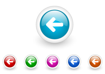 arrow left vector glossy web icon set