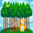 Forest with cat and bird