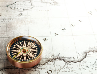 compass on old map 1732