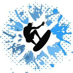 Surfer on white and blue grunge background