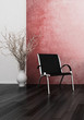 Modern chair in front of red wall | 3d interior