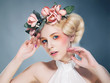 Nostalgia. Romantic Blonde with Wreath of Flowers. Expression