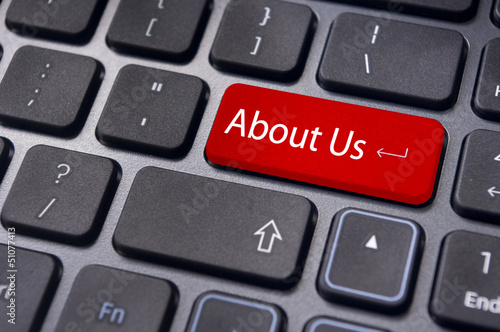 about us concept, message on keyboard