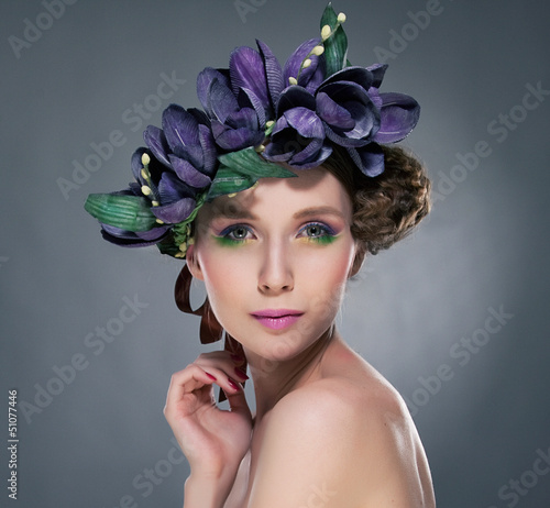 Refined Shiny Brunette with Leaves and Flowers. Romance