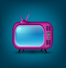 Vector icon pink retro TV
