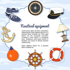 Artículos de equipamiento náutico formando un marco
