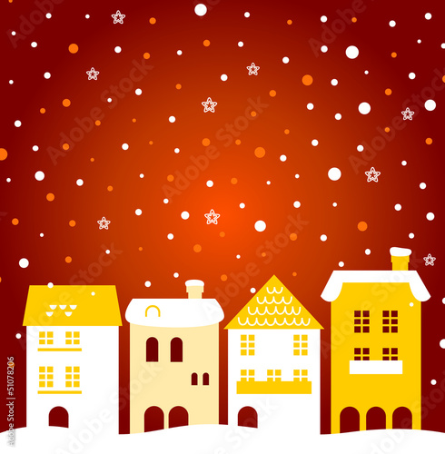 Colorful winter christmas town with snow behind