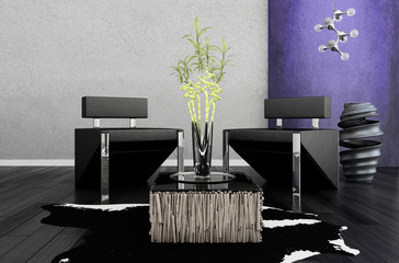 Modern chairs in front of violet wall | 3d interior
