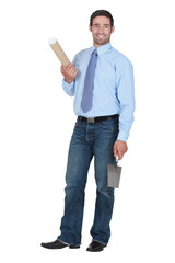 man holding a trowel
