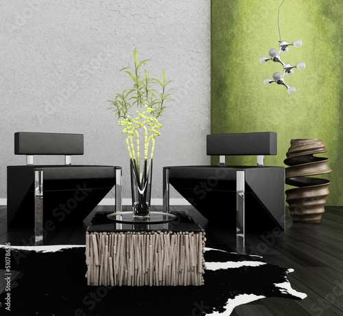 Modern chairs in front of green wall | 3d interior