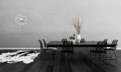 Modern Dining Room interior with design dining table and chairs