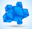 Background with blue cubes