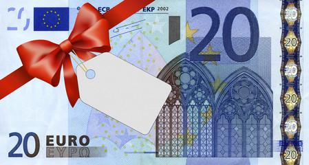 20 Euroschein mit rotem Band und Schleife mit Label