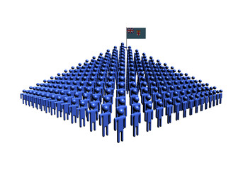 Pyramid of abstract people with Fiji flag illustration