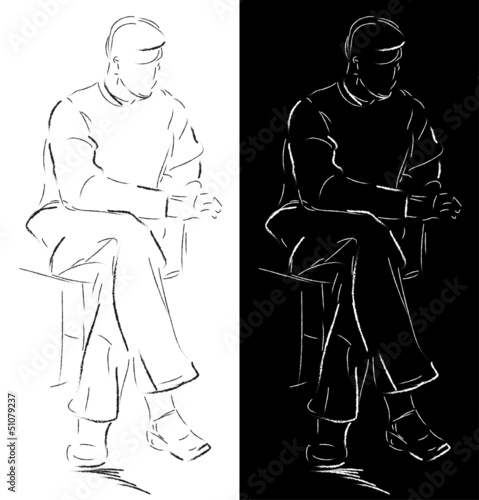Sketch of a sitting man