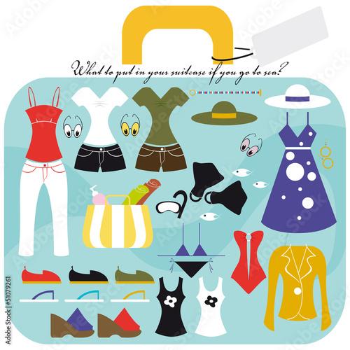 La valigia delle vacanze al mare