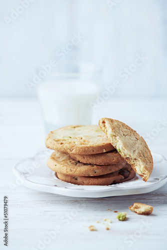Butter cookies with pistachios on a plate