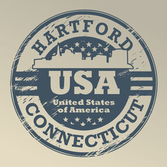 Grunge rubber stamp with name of Connecticut, Hartford, vector