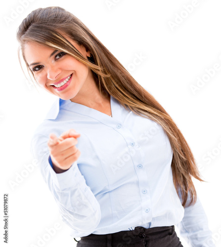 Business woman pointing to the camera