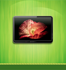 Vector lcd, plasma tv with beautiful poppy hanging on a green wa