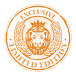 Stamp with Lion head and the word exclusive written inside
