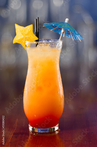 fresh tropical juice cocktail