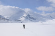 A lone hiker in the snow,  Mont Cenis ( France ).