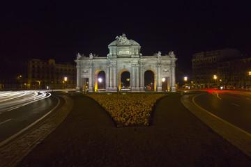 Night view of the monument Puerta de Alcala, Madrid, Spain