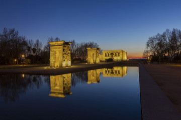 Temple of Debod donated by Egypt to Spain .Late afternoon view