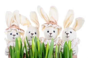 Easter decoration with rabbits