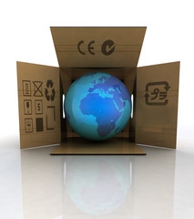 carton box with world globe with europe and africa