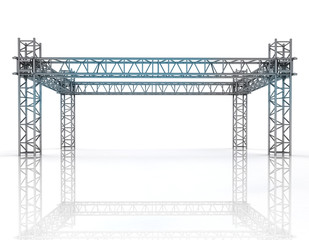 shiny blue framework construction with steel columns