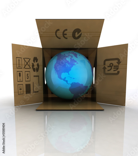 carton box with world globe with america