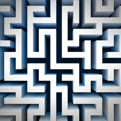 blue labyrinth wall structure in top perspective view