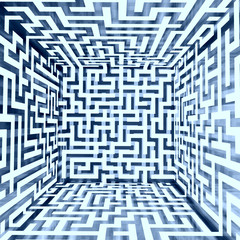 blue white dimensional maze composition inside look