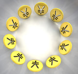 yen golden coin symbol circle