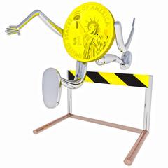 dollar coin robot jumping above hurdle illustration