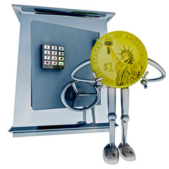 dollar coin standing in front of vault illustration